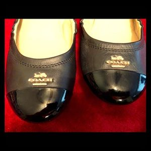 COACH- size 8.5 leather patent toe ballet flats
